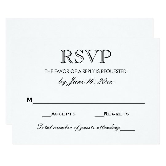 Wedding rsvp card black and white for Rsvp cards for weddings templates