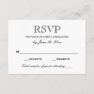 Wedding Rsvp Card Black And White