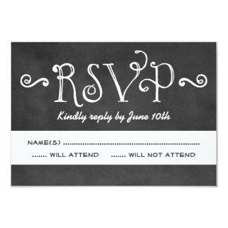 Wedding RSVP Card   Black Chalkboard Charm