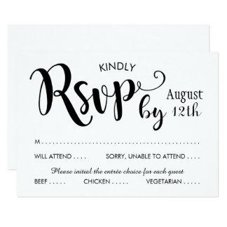 Wedding RSVP Card | Black Script