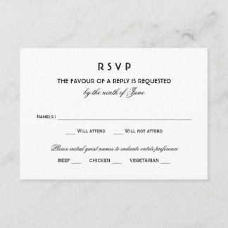 Wedding RSVP Card | Black Vintage Glamour