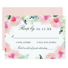 Wedding RSVP Card | Blush Pink Daisy Watercolor