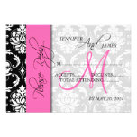 Wedding RSVP Card Damask Pink Monogram Personalized Announcements