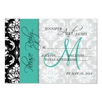 Wedding RSVP Card Damask Turquoise Names Initial
