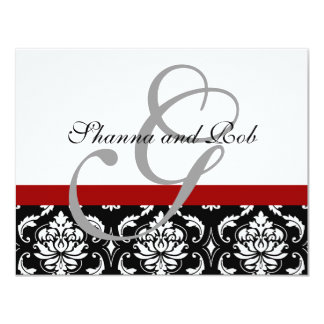Wedding RSVP Card Damask with Menu Choices