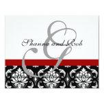 "Wedding RSVP Card Damask with Menu Choices 4.25"" X 5.5"" Invitation Card"