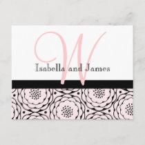 Wedding RSVP Card Floral Pink Monogram & Names
