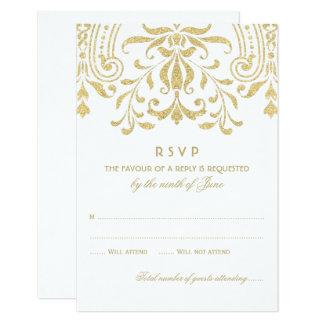 Wedding RSVP Card | Gold Vintage Glamour