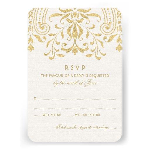 Wedding RSVP Card | Gold Vintage Glamour (front side)