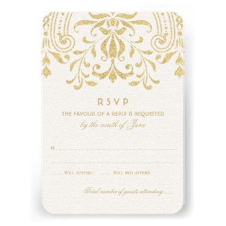 Wedding RSVP Card Gold Vintage Glamour