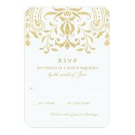 Wedding RSVP Card   Gold Vintage Glamour 3.5