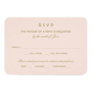 "Wedding RSVP Card | Gold Vintage Glamour 3.5"" X 5"" Invitation Card"