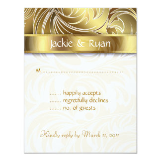 Wedding RSVP Card Leaf Floral Swirl Gold