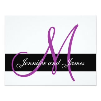 Wedding RSVP Card Monogram Names Purple Front