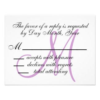 Wedding RSVP Card Monogram Names Purple Front Personalized Invite