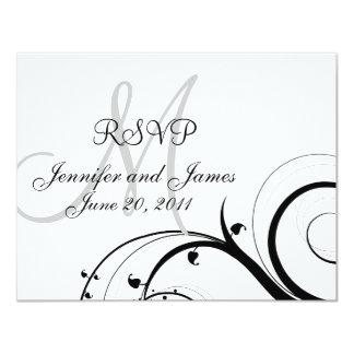 Wedding RSVP Card Monogram Names Swirls Announcements