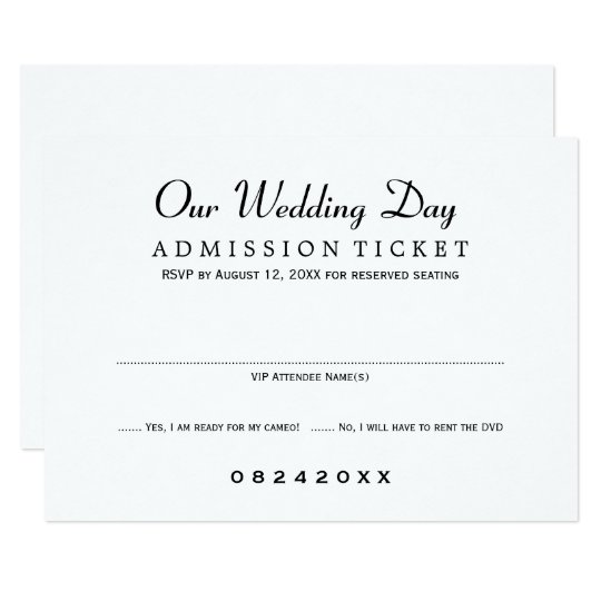 Wedding RSVP Card Movie Ticket Style Zazzlecom