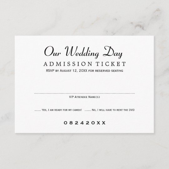 Wedding Invitation Response Cards: Movie Ticket Style