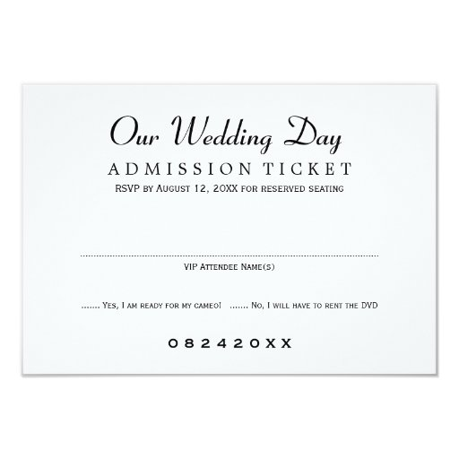 Wedding RSVP Card | Movie Ticket Style