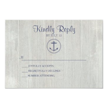 Beach Themed Wedding RSVP Card | Nautical Anchor