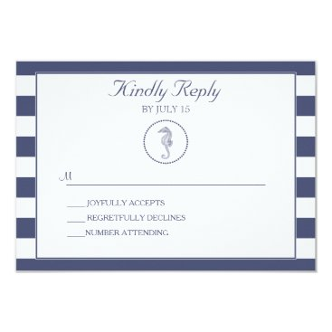 Beach Themed Wedding RSVP Card | Nautical Seahorse