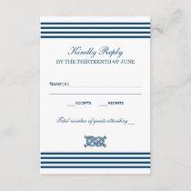 Wedding RSVP Card   Nautical Stripes Theme