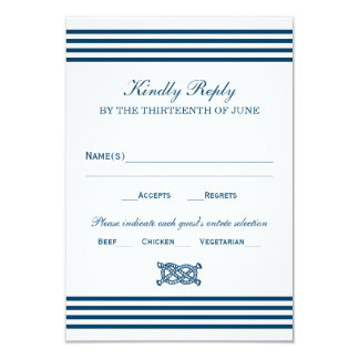 Wedding RSVP Card | Nautical Stripes Theme Personalized Announcements