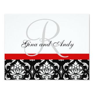 Wedding RSVP Card Red Damask Monogram & Names