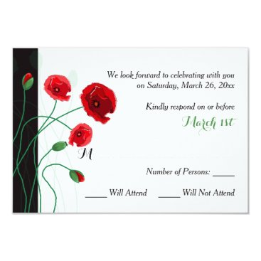 Wedding RSVP Card | Red Poppies | Black, Green