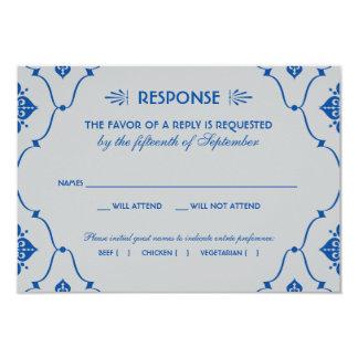 Wedding RSVP Card   Royal Blue Art Deco