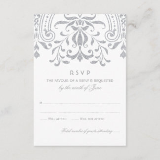 Wedding RSVP Card | Silver Vintage Glamour