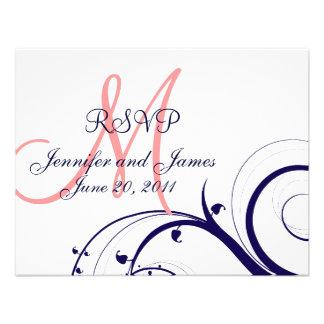 Wedding RSVP Card Swirls Navy Blue Coral Pink Custom Invite