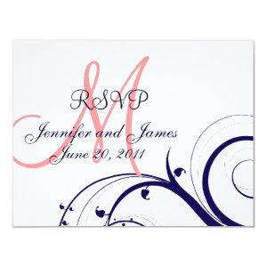 Wedding RSVP Card Swirls Navy Blue Coral Pink 4.25