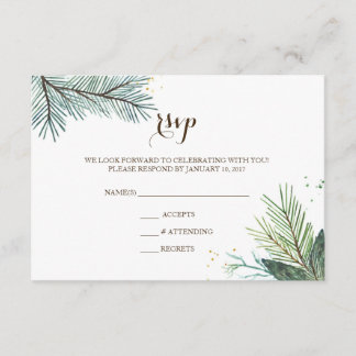 Wedding RSVP Card Winter Wreath