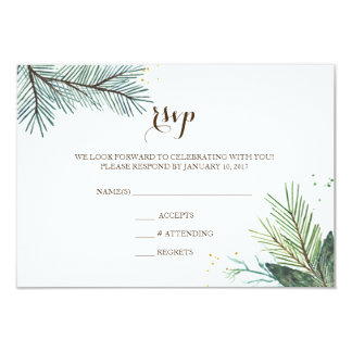 Wedding RSVP Card Winter Wreath