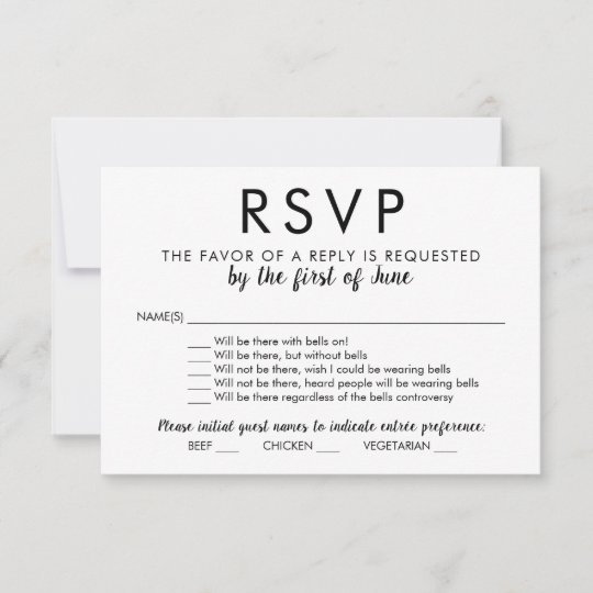 Wedding RSVP Card With Bells On Zazzlecom