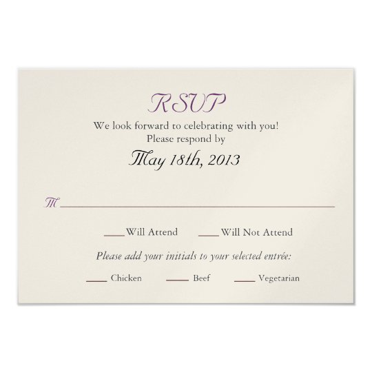 Wedding RSVP card with Entree selections Zazzlecom