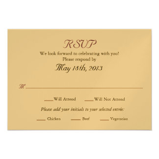 Wedding RSVP card with Entree selections