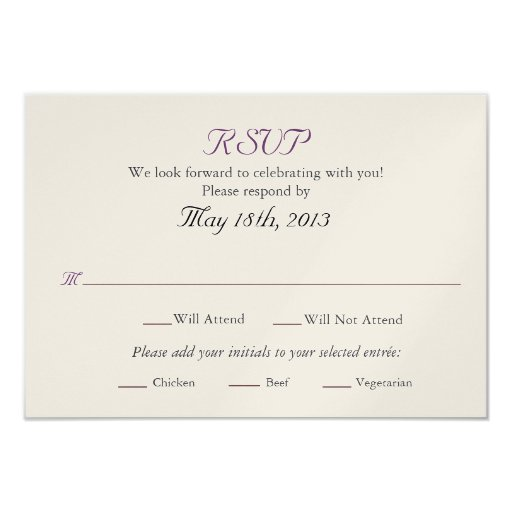 wedding rsvp card with entree selections 3 5 x 5 invitation card