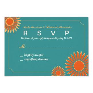 Wedding RSVP Card with Hot Summer Sunflower