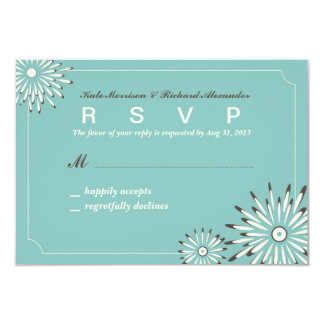 Wedding RSVP Card with Mint Green Floral Pattern