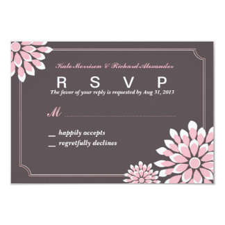 Wedding RSVP Card with Pink, White and Grey Flower