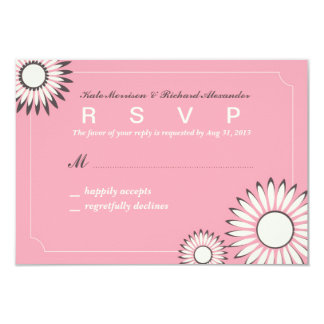 Wedding RSVP Card with Sweet Pink Sunflower