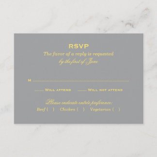 Wedding RSVP Card | Yellow and Gray