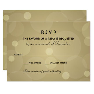 Wedding RSVP Cards | Black and Champagne Gold
