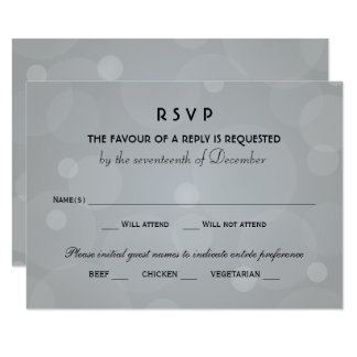 Wedding RSVP Cards | Black and Platinum Gray