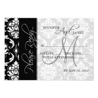Wedding RSVP Cards Black Damask Monogram Personalized Invitations