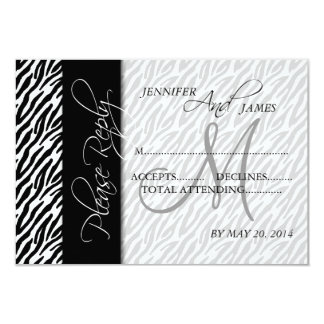 Wedding RSVP Cards Black Zebra Pattern Monogram