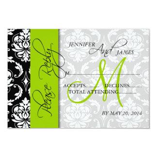 Wedding RSVP Cards Damask Monogram Green