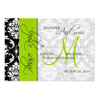 Lime Green Black Damask Wedding Invitations RSVP Cards from MonogramGallery.ca